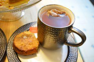 rooibos tea and Chetna's Date, Walnut, and Nutmeg Cake.